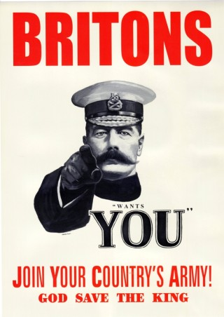 This famous poster showing Lord Kitchener was not actually as widely used as previously thought.   Imperial War Museum