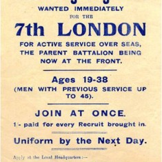 Recruiting poster for the 7th (City of London) Battalion, The London Regiment.   Hammersmith and Fulham Archives