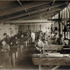 Women workers in the assembly shop at the Alliance Aeroplane Company Ltd, Cambridge Grove.   Hammersmith and Fulham Archives