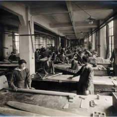 Women workers in the carpentry workshop at the Alliance Aeroplane Company Ltd, Cambridge Grove.   Hammersmith and Fulham Archives