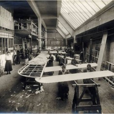 Women workers engaged in the construction of wing sections at the Alliance Aeroplane Company Ltd, Cambridge Grove.   Hammersmith and Fulham Archives
