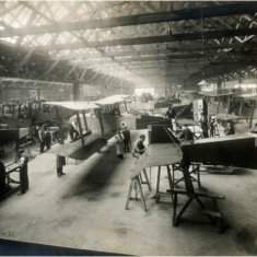 Main erection shop in the manufacture of DH9 bombers at the Alliance Aeroplane Company Ltd, Cambridge Grove.   Hammersmith and Fulham Archives
