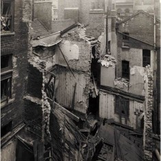 Damage to houses in Edward Street, Soho as a result of a daylight  aeroplane raid, 26th November 1916. | City of Westminster Archive Centre