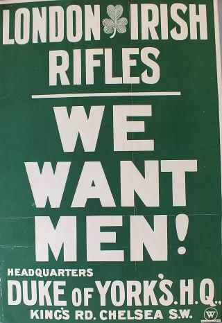 London Irish Rifles recruitment poster | Kensington and Chelsea Local Studies