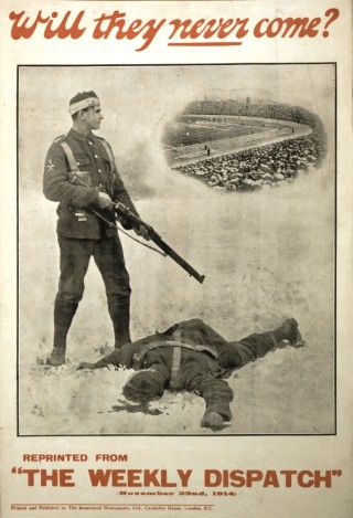 The ground shown in this recruitment poster is Chelsea's Stamford Bridge | Imperial War Museum