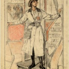 Designs by Fulham resident A S Hartrick for a poster campaign promoting Women's War Work.   Hammersmith and Fulham Archives