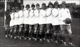 A line-up of the Dick, Kerr's Ladies, taken in 1921. Lily Parr is on the far right.   Wikipedia